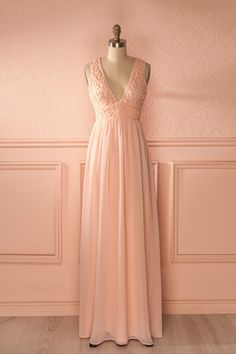 Longue robe rose clair haut dentelle - Lace top baby pink maxi dress