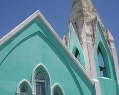 Bermuda Aqua Blue Church by SecondLookPhoto on Etsy