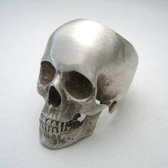 the full skull ring in sterling silver. $300.00, via Etsy.