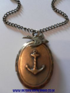Image of Vintage Goldtone Anchor Locket with Swallow Bird Charm Necklace