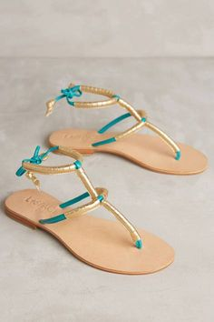 Milano Sandals by Cocobelle   #gold #turquoise #flat