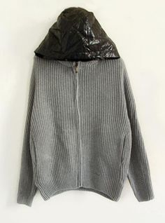 Gray  Hooded Bat Sleeve Sweater$45.00