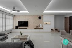 Check out this Contemporary-style HDB Living Room and other similar styles on Qanvast. Feature Wall Living Room, Tv Feature Wall, Living Room Tv Unit Designs, Interior Design Singapore, Living Room Lighting, Interior Design Living Room, House Design, Home Hall Design, Contemporary Style