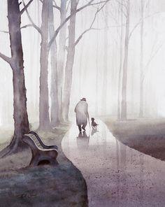 Original Watercolor Archival Print Man Dog Friendship by TCChiu