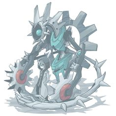 I'm Kling the Klinklang, well, more like we. Me and this bot, named Klang, are partners. I work as a scientist for the Council of Legends. I make new tools for them, and Klang, the bot behind me, tests them for me.