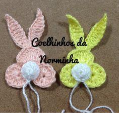 Ponto Preso1: Croche - um Coelhinho para encantar na Páscoa...clever little bunny applique,with pictures and diagrams for crocheting!!