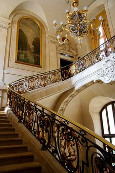 I want stairs like that in my (near Paris) Hotel Particulier (private mansion) Beautiful Interiors, Beautiful Homes, Interior Architecture, Interior And Exterior, Beautiful Architecture, Mansion Homes, Louvre Paris, Stair Railing, Railings