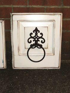 Items similar to Repurposed Wood Door Panel with Cast Iron Towel Ring on Etsy Old Cabinet Doors, Old Cabinets, Old Doors, Cabinet Fronts, Repurposed Wood, Repurposed Furniture, Diy Rack, Door Crafts, Panel Doors