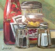 Condiments at the Diner - Tim Judge - Oil Painting