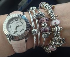 Lovely look with watch and stacked Pandora
