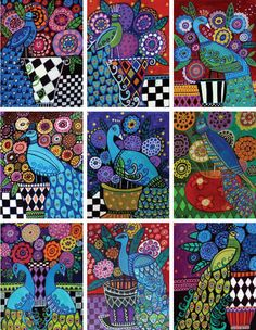 Peacock ACEO Cards Set Prints Peacocks ATC card gift stocking stuffers Folk Art
