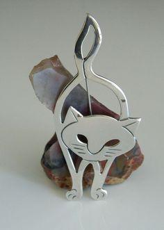 Mexico Mex MYG 925 Sterling Silver Flat Open Work Cat Kitty Feline Pin Brooch | eBay