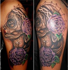 Day of the dead and purple rose tattoo #dayofthedeadtattoo #purplerosetattoo #tattooforgirls #dayofthedead