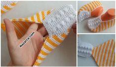2 ŞİŞ İLE ÖRÜLEN ŞİŞ PATİK NASIL YAPILIR?   Nazarca.com Knit Slippers Free Pattern, Knitted Slippers, Leg Pillow, Crochet Bebe, Knitting Socks, Fingerless Gloves, Arm Warmers, Slippers Crochet, Slipper