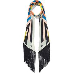 Givenchy Fringed printed silk crepe de chine scarf (405 CAD) ❤ liked on Polyvore featuring accessories, scarves, orange, fringe scarves, multi colored scarves, tying silk scarves, tie scarves and silk shawl