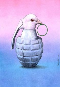 Opposition between war-grenade and peace-dove.