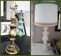 Exceptional Great Idea For Those Old Brass Lamps. FYI   Valspar Paint In Navajo White  Is Identical To Rustoleum Heirloom White.
