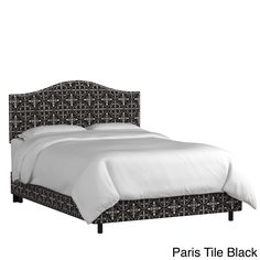 Skyline Furniture Custom Nailhead Trim Print Fabric Upholstered Bed (Queen, Paris Tile Black)