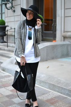 oversized hat, hijabi fashion, modest fashion, tweed blazer, hani hulu