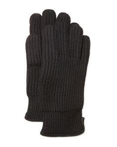 Portolano Merino Ribbed Gloves, Black