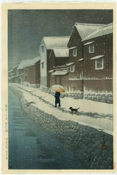 HASUI Japanese Woodblock Print A WALK IN THE SNOW 1935