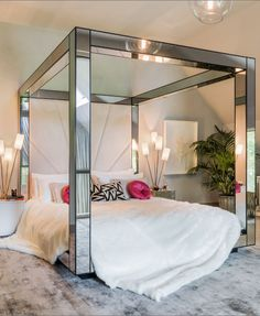 Mirror Canopy Bed For Modern Bedroom Dream Rooms, Dream Bedroom, Home Bedroom, Bedroom Decor, Modern Bedroom, Bedroom Ideas, Teen Bedroom, Night Bedroom, Bed Ideas