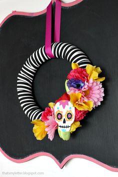 Sugar skull Halloween party diy wreath
