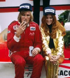 Watkins Glen, October 1977– Celebrations, James Hunt style (smoke, drink & Penthouse Pet), in victory lane following his triumph over local hero Mario Andretti in the United States Grand Prix.
