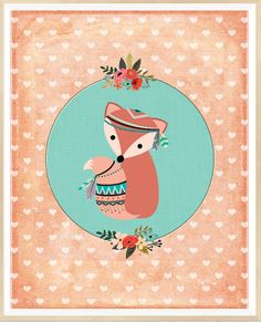 Fox tribal Print de vivero vivero forestal la pared
