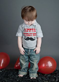 Dapper Birthday Dude Tee -  For Little Man, Mustache Birthday Party - Size 6 Months - 5T. $25.00, via Etsy.
