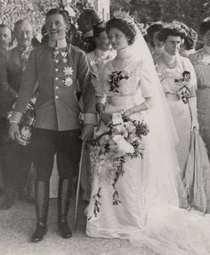 Karl I and Zita the last Emperor and Empress of Austria on their wedding, 1911.