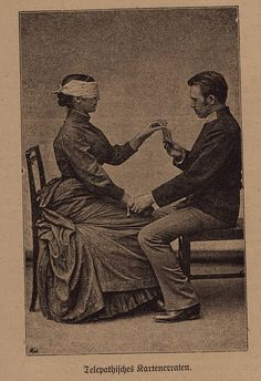 Telepathy exercise-Victorian photo from a 1921 German book on the science of extrasensory perception