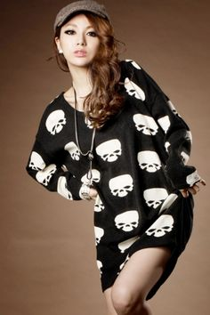 New Arrival Skull Head Dolman Sleeve Loose T-Shirt on BuyTrends.com, only price $9.58