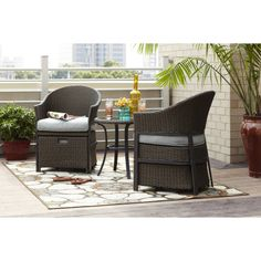 Shop Garden Treasures 5-Piece South Point Brown Steel Patio Conversation Set with Solid Blue Cushions at Lowes.com