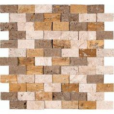 Mixed 12 in. x 12 in. x 10 mm Splitface Travertine Mesh-Mounted Mosaic Tile