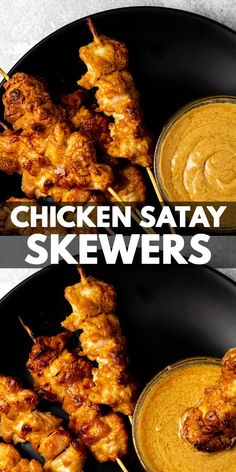 Chicken Satay Skewers – Deliciously juicy and tender chicken pieces marinaded in a satay sauce, and baked in the oven on skewer sticks. Serve with extra satay sauce for dipping for a lunch/dinner everyone will enjoy! Chicken Pesto Pasta Bake, Chicken Satay Skewers, Homemade Peanut Sauce, Maple Glazed Salmon, Skewer Sticks, Honey Lime Chicken, Grilled Meat, Poultry, Oven