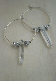 Quartz crystal point hoop earrings