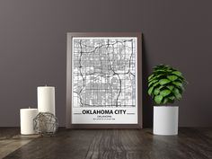 Black And White City, Black And White Posters, Black And White Wall Art, Map Wall Art, Map Art, Oklahoma City Map, Las Vegas, Bathroom Artwork, City Map Poster