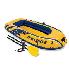 Intex Challenger 2 Person Inflatable Boat Set French Oars & High Output Air Pump #Intex