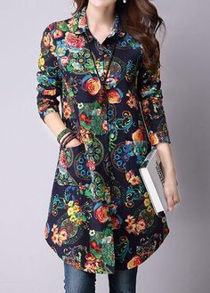 #rotita.com - #unsigned Flower Print Pocket Button Up Shirt - AdoreWe.com