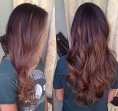 Subtle golden blonde balayage on long shiny brown hair. The ends are the perfect bronde. View more at Facebook.com/designedbyannie