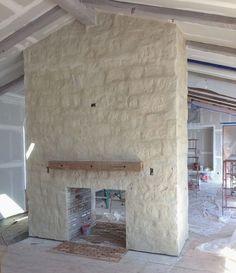 patina farm update: exterior stone and cedar wood siding…, – Stone fireplace living room Limestone Wall, Limestone Fireplace, Farmhouse Fireplace, Home Fireplace, Living Room With Fireplace, Fireplace Design, Fireplace Mantels, Stone Fireplaces, Painted Stone Fireplace