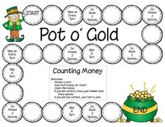 First Grade a la Carte: Here's a Pot of Gold practice counting money