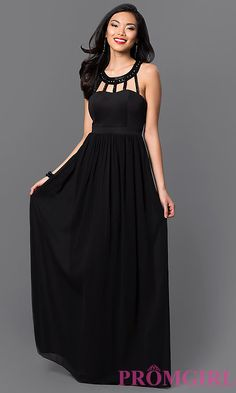 Jewel Embellished Cut Out Floor Length Dress