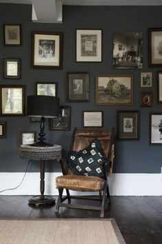 dark walls + dark wood.