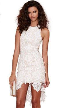 Temperament Openwork Double Dovetail Slim Crochet Lace Dress | Fashion Dresses | Clothing & Apparel- ByGoods.Com