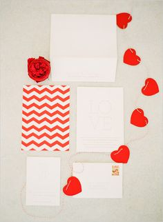 Red chevron and heart garland invitation suite