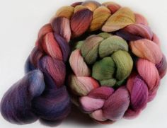 Plum Autumn merino wool top for spinning and felting  4.1