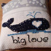 Dreampillow with lovely whale cross stitch design