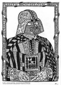 zentangle inspired star wars chewbacca drawing by chantel. Black Bedroom Furniture Sets. Home Design Ideas